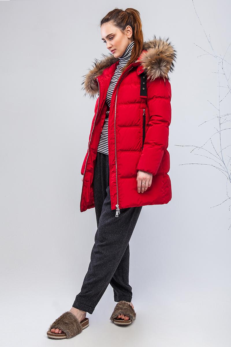 Куртка женская Clasna, цвет: красный. CW17D-017CH. Размер M (44)CW17D-017CH(164)Наполнитель био-пух.