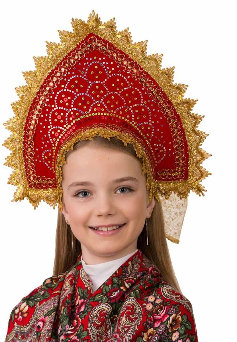 Дженис Кокошник цвет красный золотой