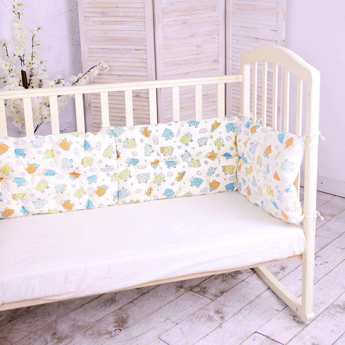 HoneyMammy Бортики-подушки в кроватку Funny Sheeps