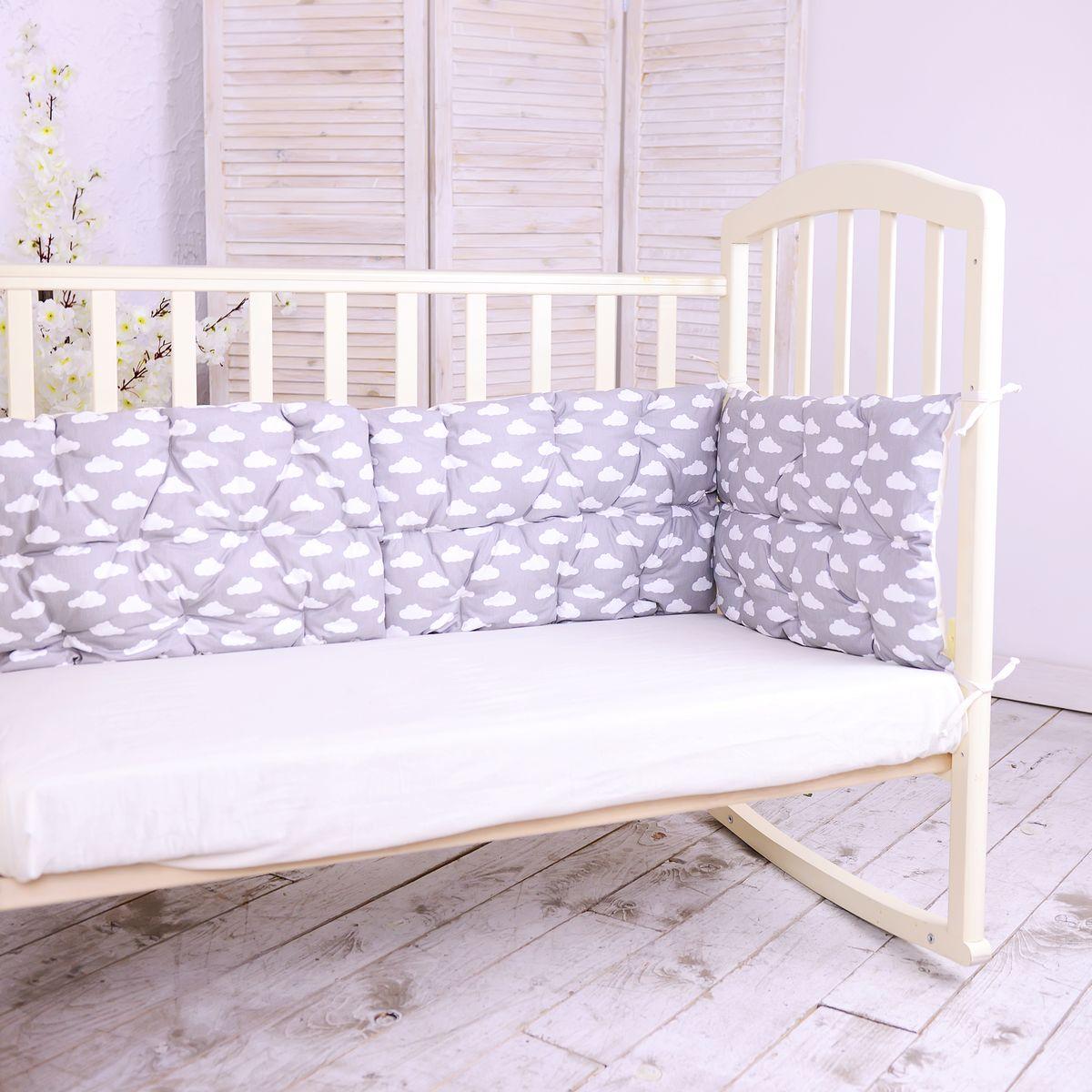 HoneyMammy Бортики-подушки в кроватку Clouds - Детский текстиль