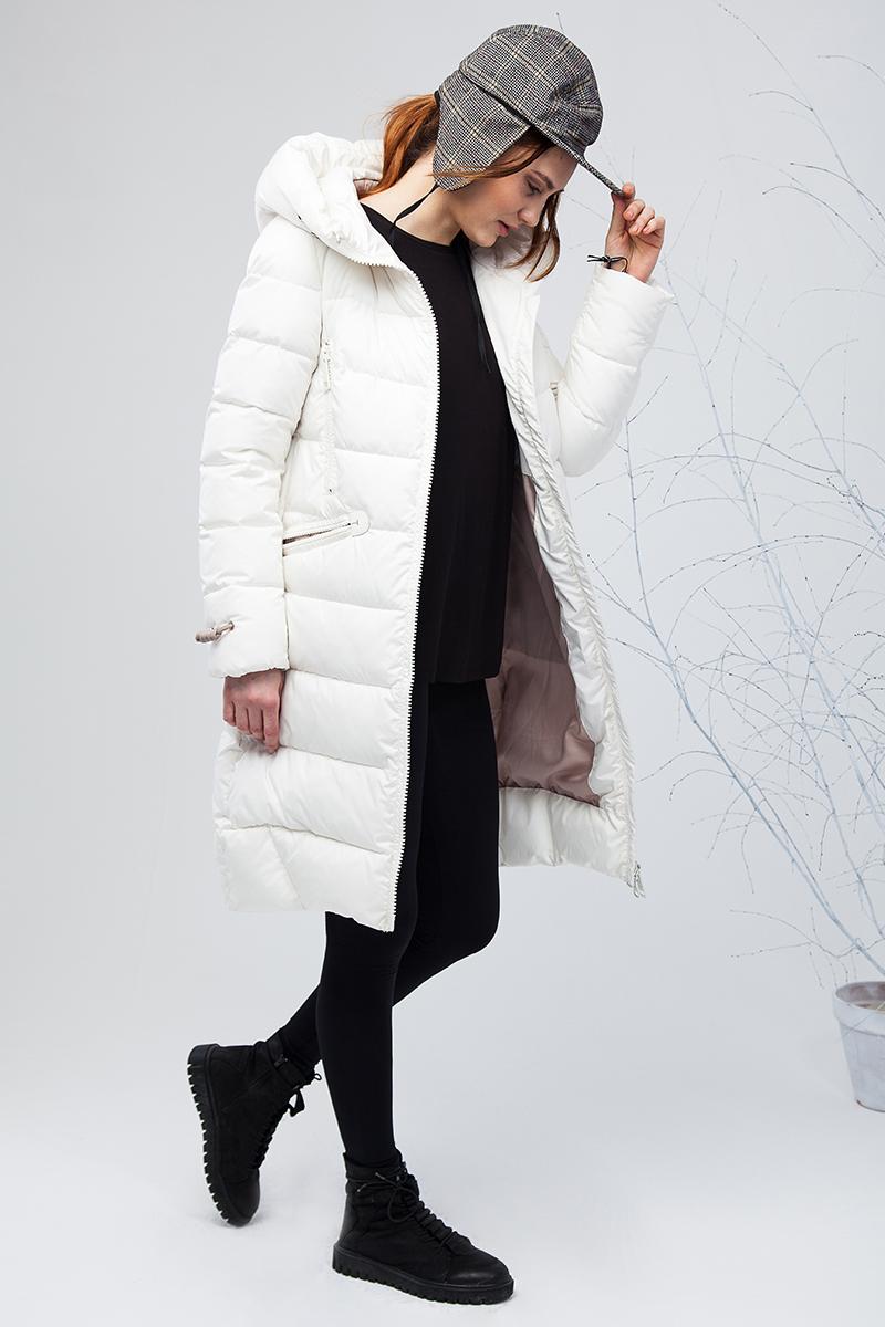 Куртка женская Clasna, цвет: слоновая кость. CW17D-001CW. Размер M (44)CW17D-001CW(921)Наполнитель био-пух.