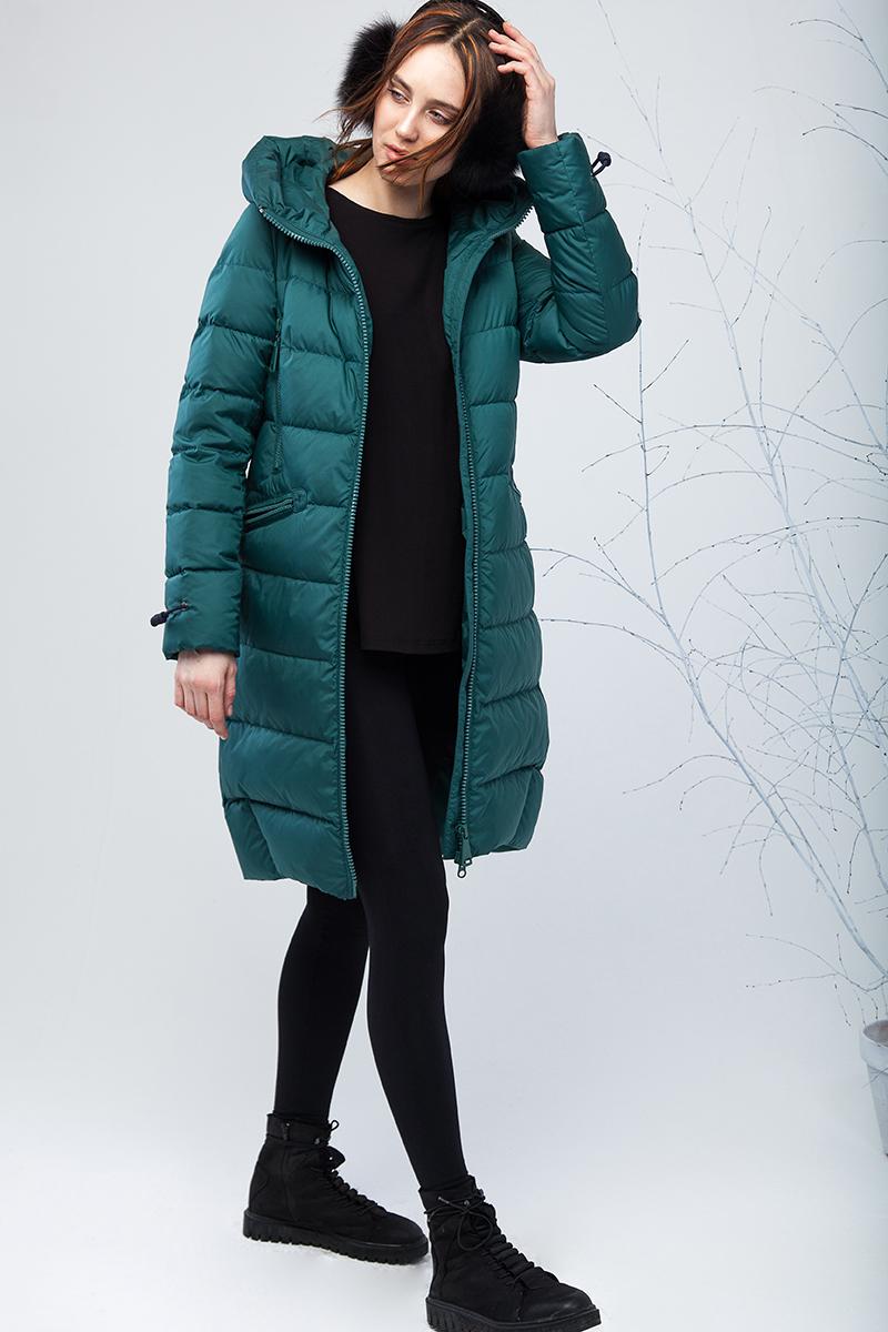 Куртка женская Clasna, цвет: зеленый. CW17D-001CW. Размер S (42)CW17D-001CW(446)Наполнитель био-пух.