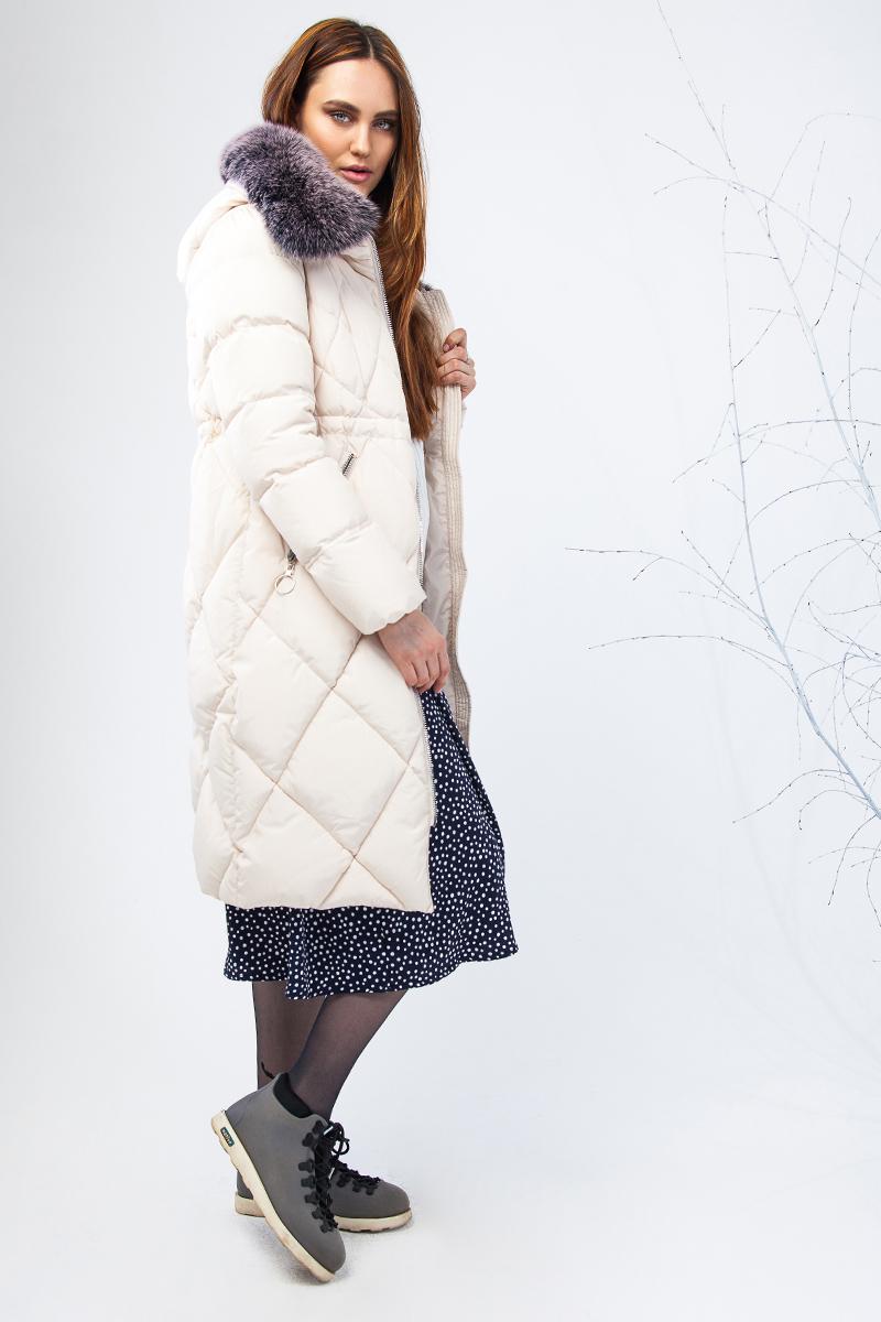 Куртка женская Clasna, цвет: молочный. CW17D-115CP. Размер M (44)CW17D-115CP(123)Наполнитель био-пух.