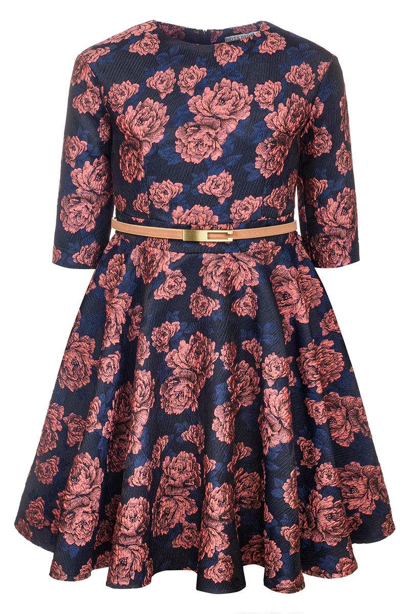Платье для девочки Nota Bene, цвет: коралловый. 17421140122. Размер 12817421140122Нарядное платье для девочки Nota Bene изготовлено из качественного полиэстера. Платье с круглой горловиной застегивается сзади на молнию. Модель с юбкой в крупную складку и рукавами 3/4 оформлена цветочным принтом.