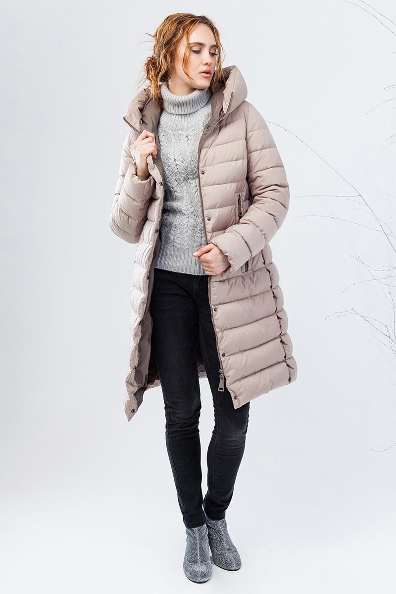 Куртка женская Clasna, цвет: бежевый. CW17D-002ACQ. Размер XXL (50) пуховик женский clasna цвет молочный cw17d 002acq 921 размер xxl 50