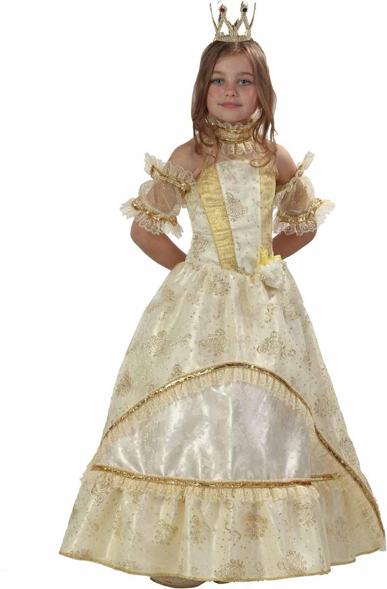 цены Батик Карнавальный костюм для девочки Золушка-Принцесса цвет золотой желтый белый размер 34