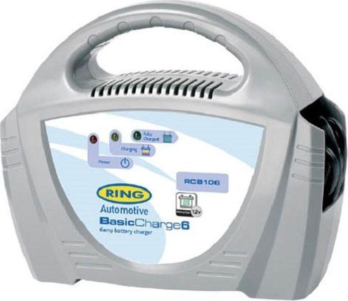 Устройство зарядное Ring Automotive Charger, 12V, 6AmpRECB106Зарядное устройство Ring Automotive для свинцово-кислотных аккумуляторных батарей 12В снабжено удобной ручкой для переноски. Рекомендуется для АКБ емкостью 20-70Ач. - Ток зарядки 6А. - Предохранитель 7,5А. - Зажимы типа крокодил и кабель питания убираются внутрь прибора. - Светодиодные индикаторы зарядки и заряженной батареи.