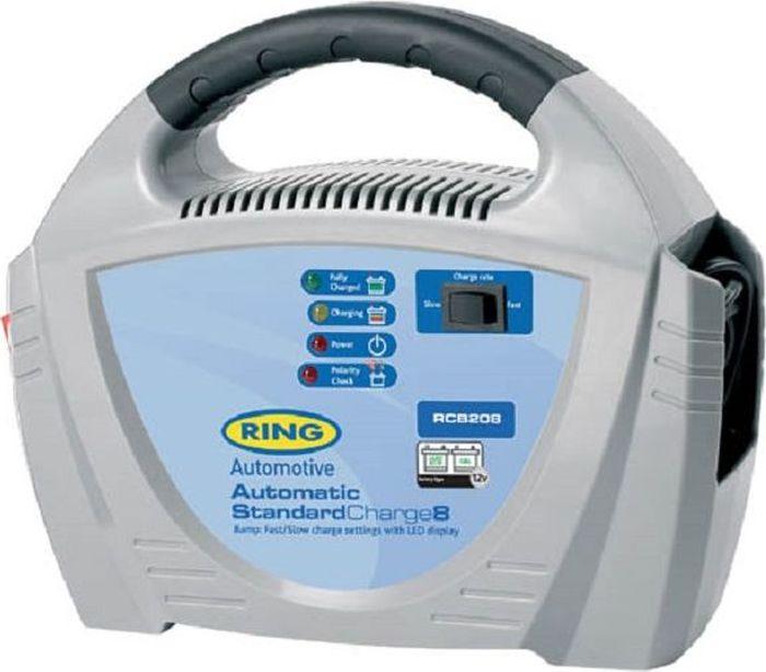 Устройство зарядное Ring Automotive Charger, 12V, 8AmpRECB208Автоматическое зарядное устройство английской компании «Ring Automotive» для свинцово-кислотных и гелевых аккумуляторных батарей 12В снабжено удобной ручкой для переноски. Рекомендуется для АКБ емкостью 20-120Ач. - Защита от обратной полярности. - Встроенный индикатор - вольтметр/амперметр. - Два режима зарядки - быстрый 8А и медленный 3А. - Зажимы типа крокодил и кабель питания убираются внутрь прибора. - Автоматическая работа. - Светодиодные индикаторы зарядки и заряженной батареи.