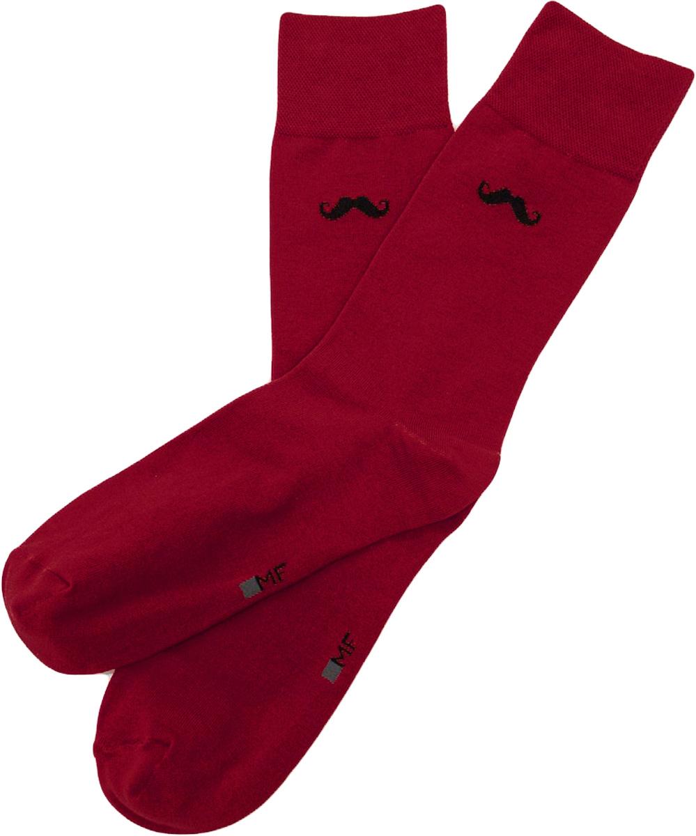 Носки мужские Mark Formelle, цвет: темно-красный. 001K-226. Размер 42/43001K-226Удобные носки от Mark Formelle, изготовленные из высококачественного хлопкового материала с добавлением полиамида и эластана, очень мягкие и приятные на ощупь, позволяют коже дышать. Эластичная резинка плотно облегает ногу, не сдавливая ее, обеспечивая комфорт и удобство. Сбоку на щиколотке носки оформлены принтом усы.