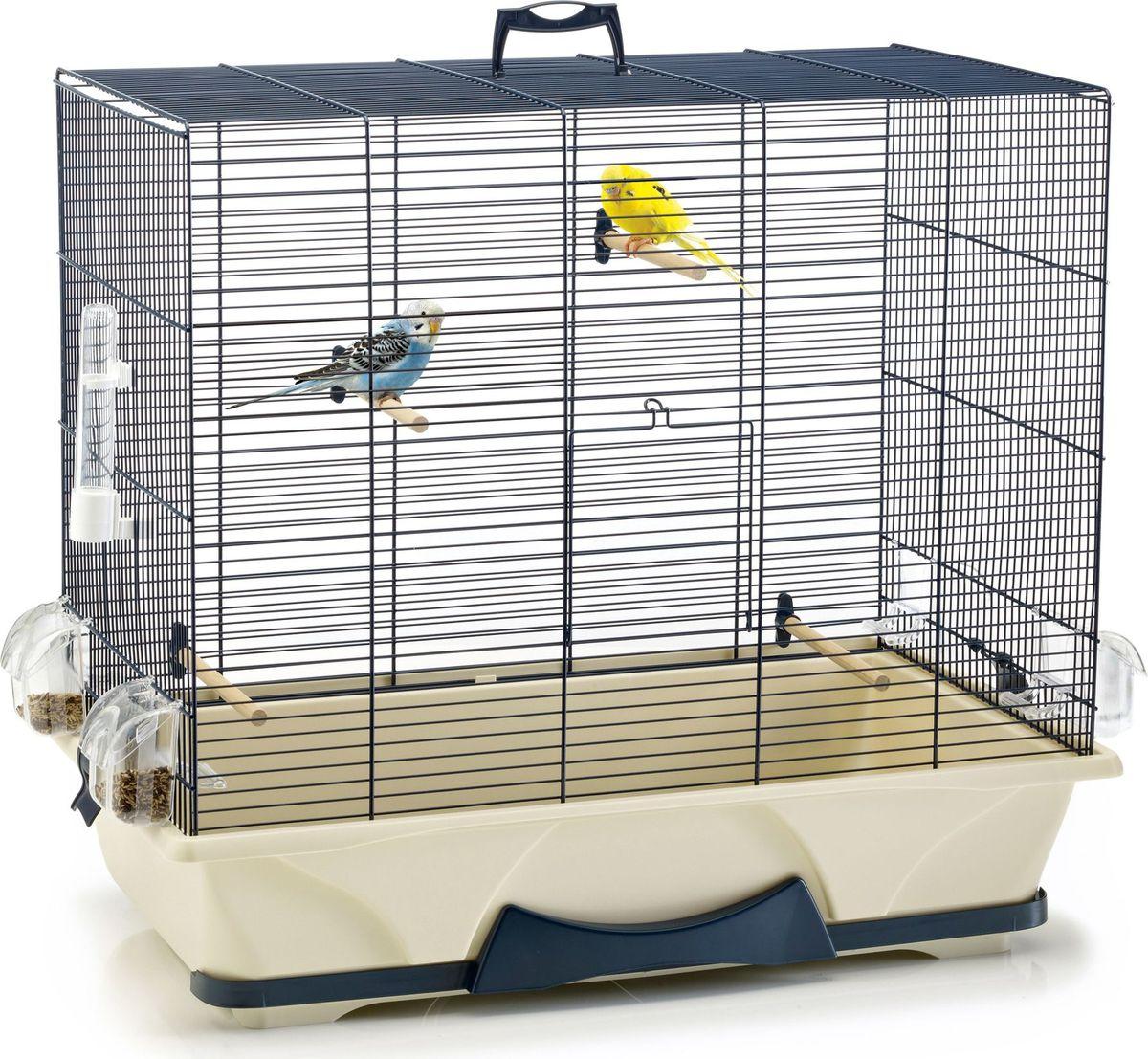 Клетка для птиц Savic Primo, цвет: синий, бежевый, 65 х 38 х 56,5 см кормушка для птиц savic weekend feeder 5905 0000