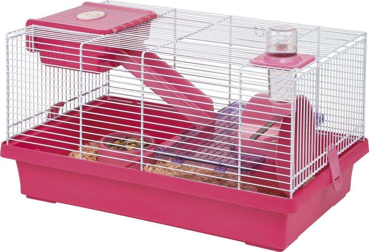 Клетка для грызунов Fauna International Mica, цвет: розовый, пурпурный, 46 х 29 х 26 см игрушка fauna international firt 0022 мяч на верёвке 40cm для собак 52021