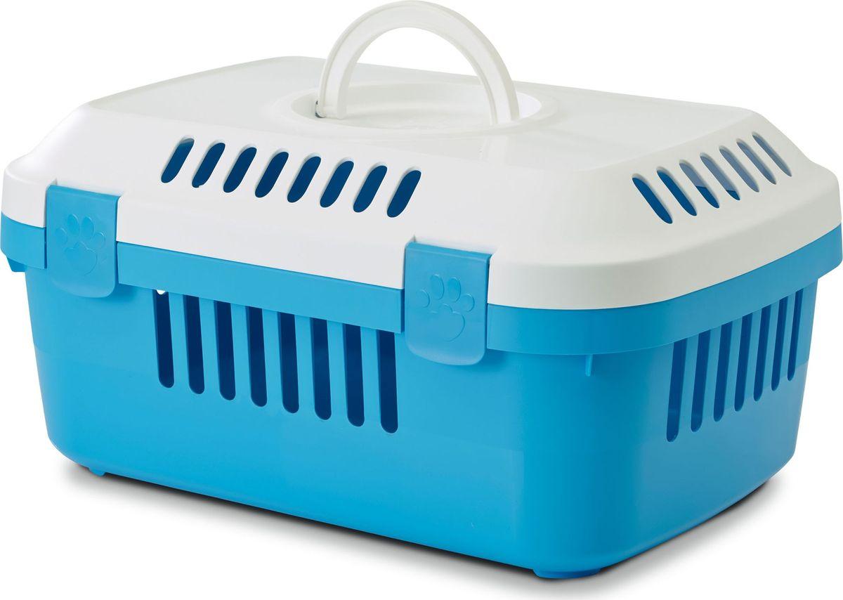 Переноска для животных Savic  Discovery Compact , цвет: белый, голубой, 33 х 48,5 х 23,5 см - Переноски, товары для транспортировки
