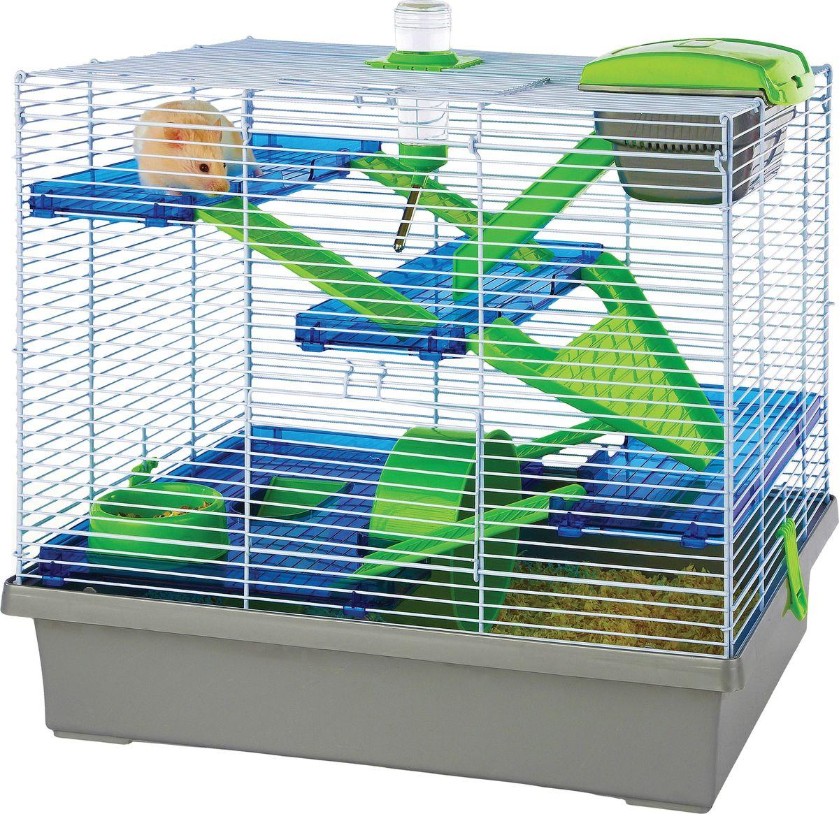 Клетка для грызунов Fauna International Pico, цвет: серебристый, зеленый, 50 х 36 х 45 см игрушка fauna international firt 0022 мяч на верёвке 40cm для собак 52021