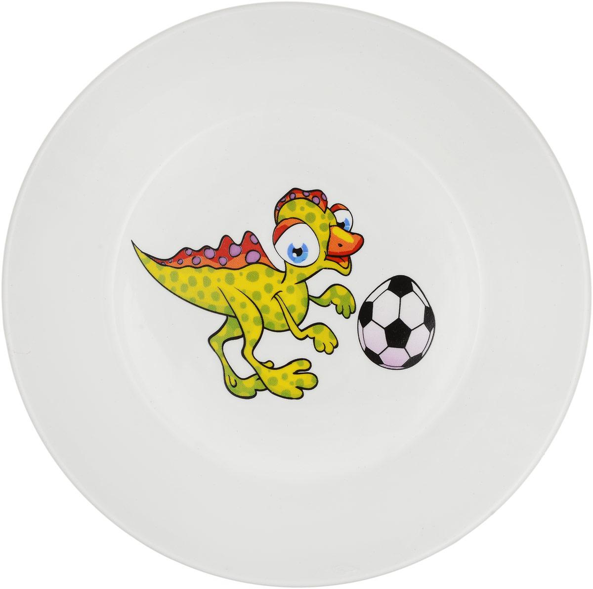 Кубаньфарфор Блюдце Динозаврик с мячом2220071_динозаврик и мячДетское блюдце Кубаньфарфор Динозаврик с мячом идеально подойдет для кормления малыша и самостоятельного приема пищи. Глубокое блюдце выполнена из фаянса, его высокие бортики обеспечат удобство кормления и предотвратят случайное проливание жидкой пищи. Яркое блюдца с красочным рисунком на дне непременно порадует малыша и сделает любой прием пищи приятным и веселым.Блюдце можно использовать в СВЧ-печах и мыть в посудомоечных машинах.