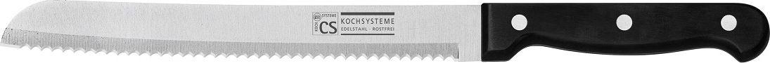 Нож для хлеба Cs-Kochsysteme Star, длина лезвия 20 см000202Нож для хлеба Cs-Kochsysteme Star имеет лезвие с зубчатой кромкой, что очень удобно для резки любых хлебобулочных изделий. Лезвие выполнено из качественной нержавеющей стали, эргономичная ручка - из прочной пластмассы. Лезвие сформировано и заточено для максимальной эффективности и безопасности при использовании.