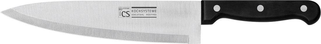 """Нож поварской Cs-Kochsysteme """"Star"""" изготовлен из нержавеющей стали. Ручка эргономичной формы очень хорошо лежит в руке. Нож предназначен для нарезки мяса, рыбы, овощей и фруктов. Такой нож займет достойное место среди аксессуаров на вашей кухне."""