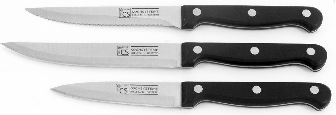 """Набор ножей Cs-Kochsysteme """"Star Tri-Star"""" изготовлен из высококачественной нержавеющей стали. Ручка эргономичной формы очень хорошо лежит в руке.  Набор состоит из 3 ножей: нож для томатов, универсальный нож, нож для овощей и фруктов."""