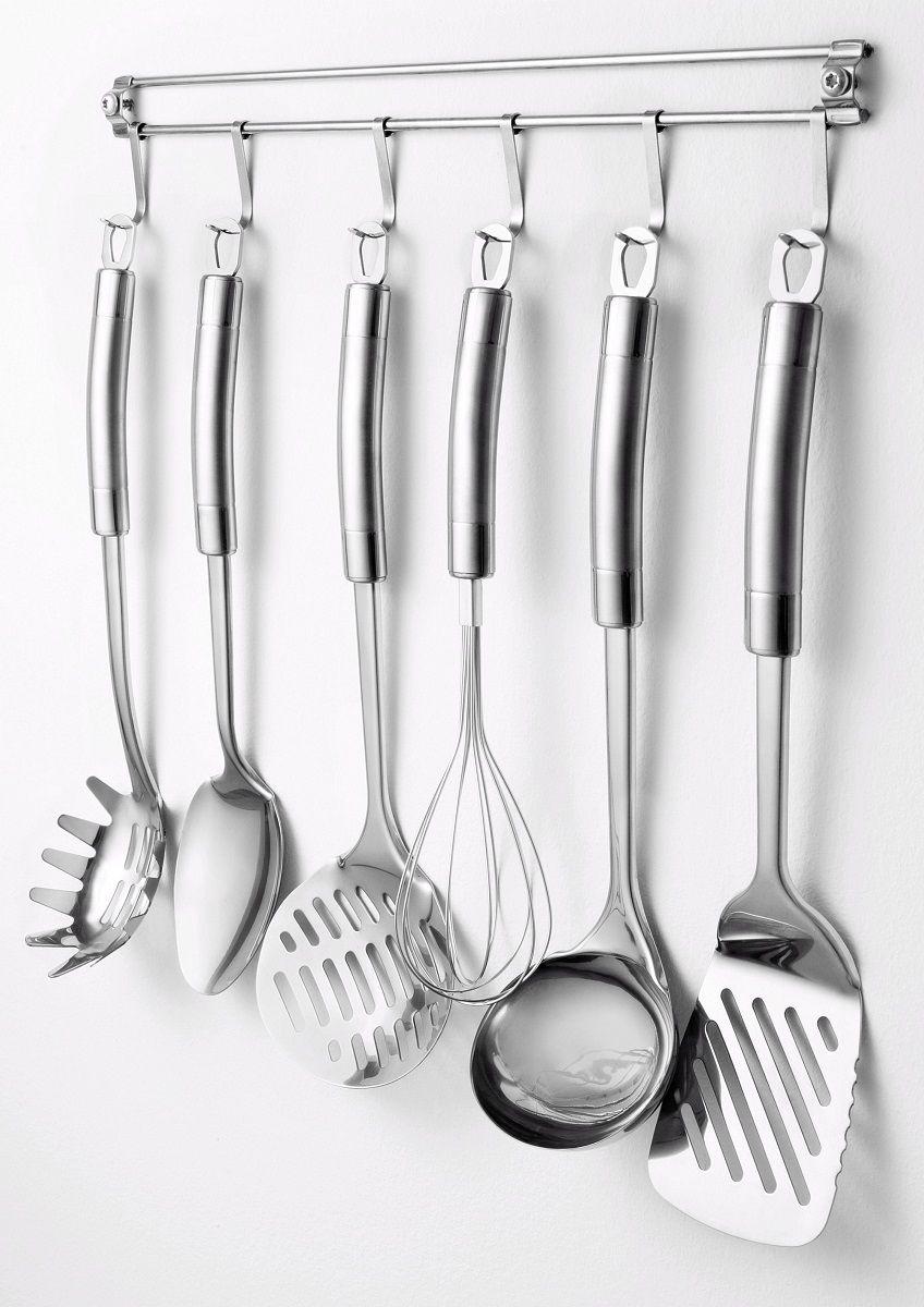 Набор кухонных принадлежностей Cs-Kochsysteme Exquisite. Big, 7 предметов008765Набор кухонных принадлежностей Cs-Kochsysteme Exquisite. Big изготовлен из высококачественной хромоникелевой нержавеющей стали. Каждый предмет и набор в целом отличаются высоким качеством. Набор состоит из 7 предметов: поварёшка, лопатка, большая ложка, венчик, ложка для спагетти, скимммер и планка.Такой практичный набор понравится любой хозяйке и будет отличным помощником на кухне.
