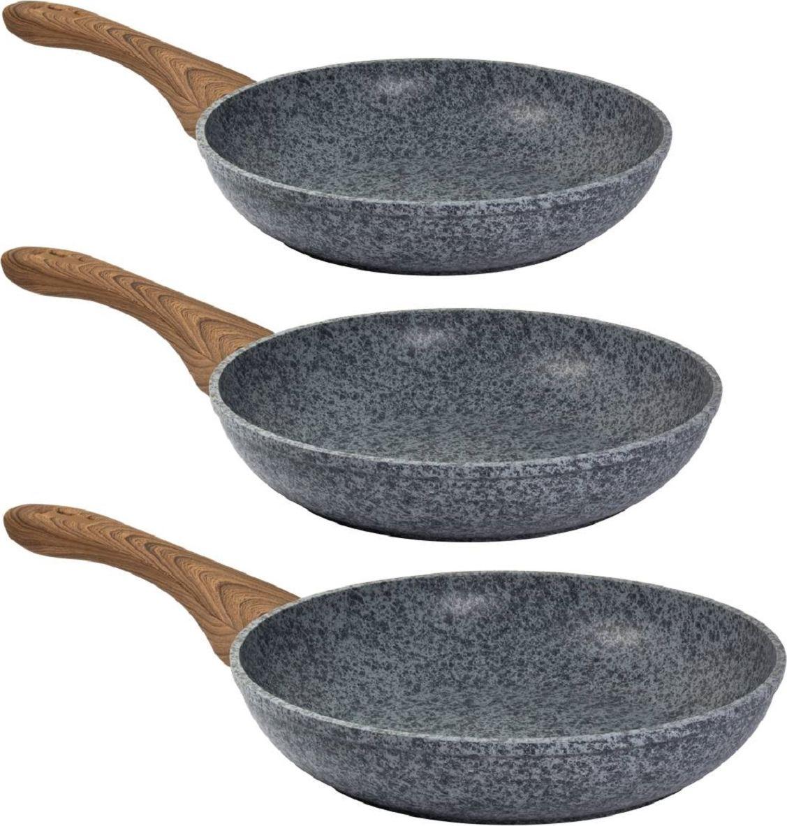 Набор сковород Cs-Kochsysteme Steinfurt, с гранитным покрытием, цвет: серый, 3 шт065348Сковорода серии STEINFURT изготовлена из кованого алюминия. Гранитное покрытие GranexPluse с мраморной отделкой устойчиво к царапинам и повреждениям. В комплект входит 3 сковороды диаметрами 20, 24 и 28 см. Сковороды серии STEINFURT прекрасно подходят для приготовления на газовых, электрических и индукционных плитах.