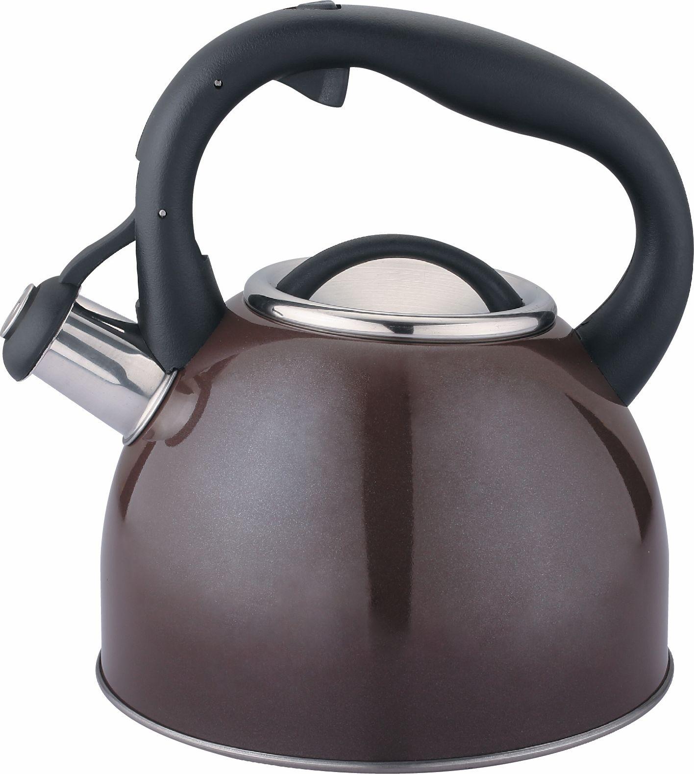 Чайник Cs-Kochsysteme Bonn, со свистком, цвет: коричневый, 2,5 л067366 коричневыйЧайник BONN 2,5 л со свистком изготовлен из высококачественной нержавеющей стали. Вы можете использовать чайник на всех типах варочных поверхностей (в том числе индукционных). В подарочной коробке