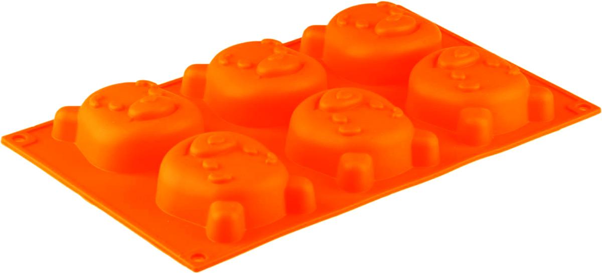 Форма для выпечки Доляна Мишутка, цвет: красный, 29 х 17 см, 6 ячеек811947