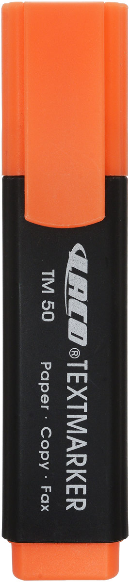 Laco Текстмаркер TM 50 цвет оранжевый2614019Текстмаркер в пластиковом корпусе с защитным колпачком с клипом. Предназначен для выделения текста на бумаге любого типа. След остается ярким и не выцветает даже на факсовой бумаге и ксерокопиях.Цвет корпуса черный, колпачок и торцевая часть соответствует цвету чернил Толщина линии - 1-6 мм. Скошенный клиновидный наконечник. Цвет - оранжевый. На водной основе. Производитель: Малайзия.