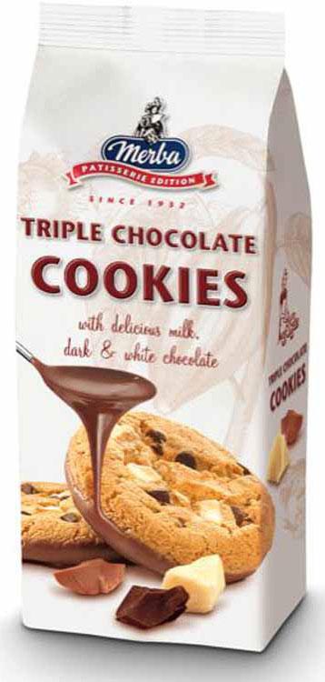 Merba Печенье три шоколада, 200 г merba печенье с горьким шоколадом и фундуком 200 г