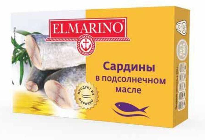 Elmarino Сардины в подсолнечном масле, 125 г4607065714512Входящие в состав сардин полиненасыщенные жирные кислоты Омега-3 препятствуют возникновению сердечно-сосудистых заболеваний. Комплекс витаминов A, D, B6, B12 способствует укреплению иммунитета, а также снижает уровень холестерина. Все это делает консервы из сардин исключительно полезным продуктом.