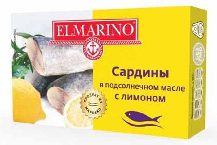 Elmarino Сардины в подсолнечном масле с лимоном, 125 г elmarino копченые осьминоги кусочками в масле 103 г