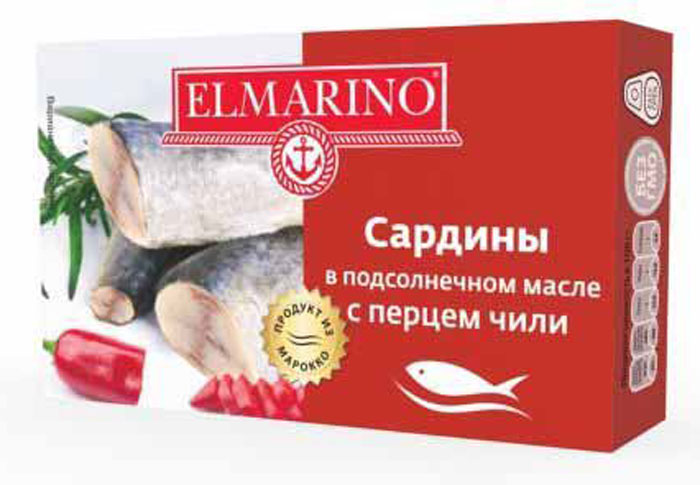 Elmarino Сардины в подсолнечном масле с перцем чили, 125 г4607065714543Входящие в состав сардин полиненасыщенные жирные кислоты Омега-3 препятствуют возникновению сердечно-сосудистых заболеваний. Комплекс витаминов A, D, B6, B12 способствует укреплению иммунитета, а также снижает уровень холестерина. Все это делает консервы из сардин исключительно полезным продуктом.