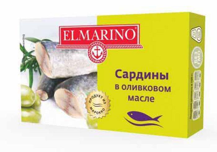 Elmarino Сардины в оливковом масле, 125 г4607137980319Входящие в состав сардин полиненасыщенные жирные кислоты Омега-3 препятствуют возникновению сердечно-сосудистых заболеваний. Комплекс витаминов A, D, B6, B12 способствует укреплению иммунитета, а также снижает уровень холестерина. Все это делает консервы из сардин исключительно полезным продуктом.