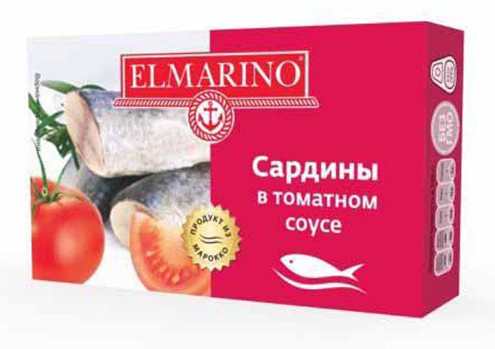 Elmarino Сардины в томатном соусе, 125 г4607137980326Входящие в состав сардин полиненасыщенные жирные кислоты Омега-3 препятствуют возникновению сердечно-сосудистых заболеваний. Комплекс витаминов A, D, B6, B12 способствует укреплению иммунитета, а также снижает уровень холестерина. Все это делает консервы из сардин исключительно полезным продуктом.