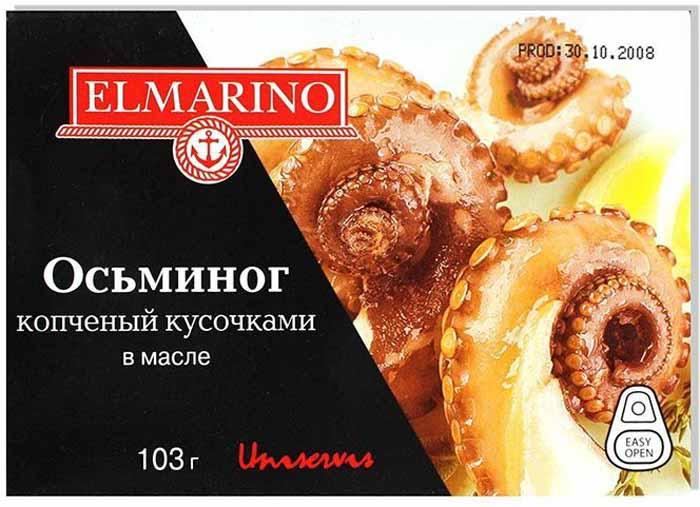 Elmarino Копченые осьминоги кусочками в масле, 103 г