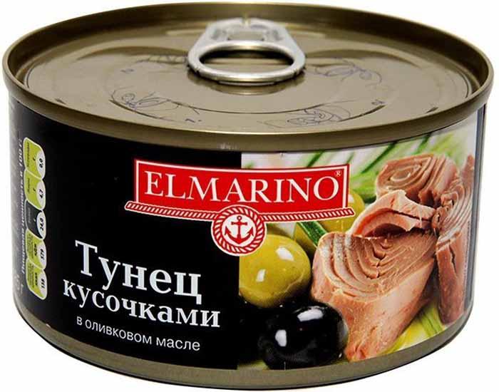 Elmarino Тунец кусочками в оливковом масле, 185 г8858463004132Исключительно богатый белком, этот продукт по своим питательным свойствам является аналогом мяса. Благодаря низкому содержанию жира этот продукт с полной уверенностью можно отнести к диетическим продуктам. Особенный вкус и аромат этому продукту добавляет оливковое масло.