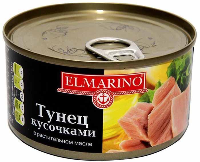 Elmarino Тунец кусочками в растительном масле, 185 г медовая серия peroni вкус россии premium 4 x 30 мл
