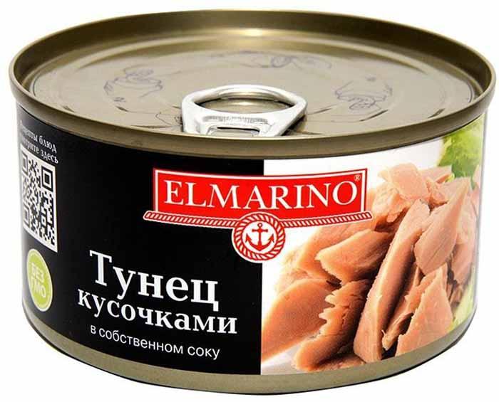 Elmarino Тунец кусочками в собственном соку, 185 г8858463004156Российские потребители попробовали тунца относительно недавно, но он уже успел завоевать популярность. Его мясо очень ценят за его питательные и вкусовые свойства. Высокое содержание белка и небольшое количество жира делают этот продукт диетическим. Консервированный тунец, по своим составляющим, является аналогом мяса. Очень популярные ныне Средиземноморская и Восточная кухни, которые считаются одними из самых полезных и вкусных, не обходятся без тунца. Салаты, закуски, пицца, макароны и даже плов - все это он прекрасно дополняет. Консервированный тунец Elmarino производится практически без добавления соли, что важно для людей, следящих за состоянием своего здоровья.