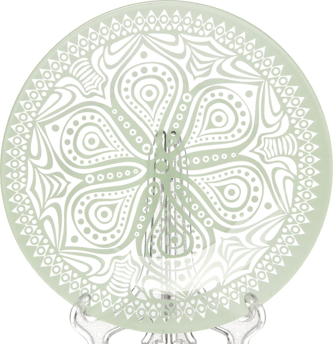 Тарелка Pasabahce БОХО, цвет: зеленый, 19,5 см. 31751/A10327SLBD45Тарелка из упрочненного стекла с зеленым узором d=195 мм