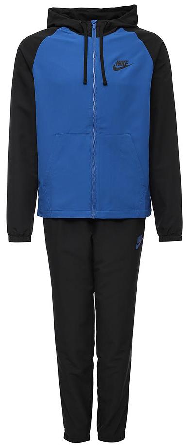 Спортивный костюм мужской Nike M NSW Trk Suit HD WVN, цвет: черный, синий. 861772-010. Размер S (44/46)861772-010Мужской спортивный костюм Nike Sportswear, состоящий из толстовки и брюк, с ярким дизайном обеспечивает невероятный комфорт. Костюм из легкого тканого материала включает яркую толстовку с капюшоном и рукавами анатомического кроя. Гладкий тканый материал создает ощущение легкости.