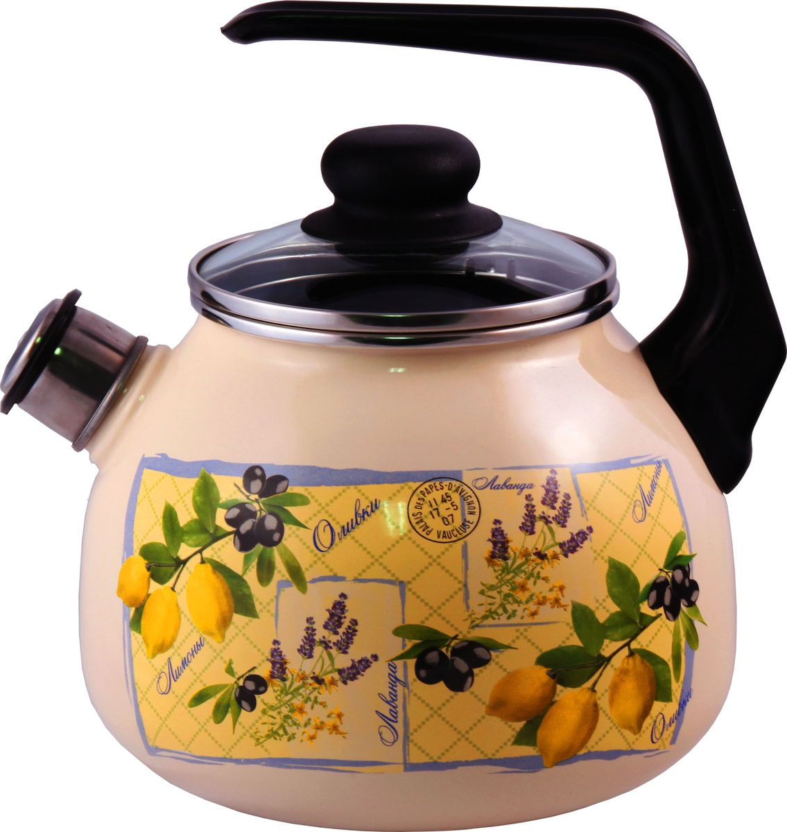 Чайник Appetite Citrus, со свистком, 3 л. 4с209я4с209яЧайник объем 3,0л со свистком Citrus материал: эмаль