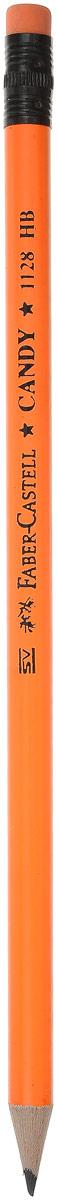 Faber-Castell Карандаш чернографитный Candy с ластиком цвет оранжевый112800_оранжевыйЧернографитовый карандаш Candy с ластиком - круглая форма - яркие цвета корпуса - твердость HB - легкое затачивание - специальная технология вклеивания (SV) предотвращает поломку грифеля