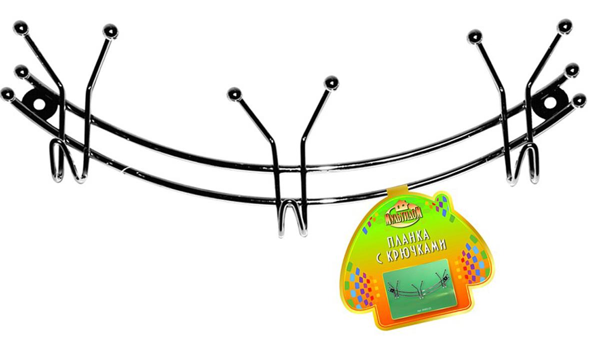 Планка кухонная Мультидом Дуга, с 3 крючками, длина 29 смAN52-23Используется для подвешивания кухонных лопаток, инструментов, прихваток и т. п.Изготовлено из стальной хромированной проволоки.Длина планки 29 см.Предусмотрено крепление на шурупах.