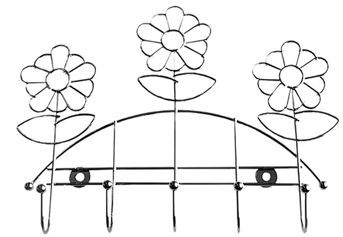 Планка кухонная Мультидом Ромашка, с 5 крючками, длина 24 смAN52-74Планка кухонная Мультидом Ромашка используется для подвешивания кухонных лопаток, инструментов, прихваток.Предусмотрено крепление на присосках и шурупах. В комплект входят 2 шурупа. Длина планки: 24 см. Изготовлена из стальной хромированной проволоки.