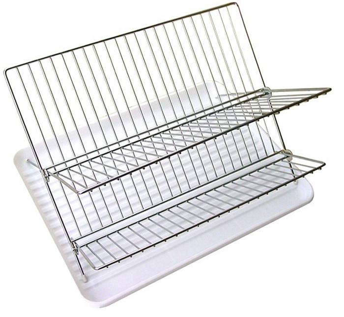 Сушилка для посуды Мультидом с поддоном, складная, двухъярусная, 38 х 32 смAN52-100Двухъярусная складная сушилка для посуды Мультидом реально экономит свободную площадь на кухне и в то же время вмещает в себя в несколько раз больше предметов, чем другие! Нижний уровень идеально подходит для чашек и столовых приборов, а верхний уровень - для разнообразных тарелок и блюдец. Долговечна, практична - в сложенном состоянии занимает мало места. Сушилка выполнена из стальной хромированной проволоки, поддон - из пластмассы (полипропилен). Размер: 38 х 32 см.