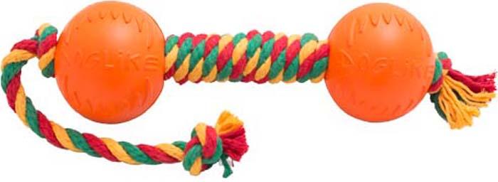 Игрушка для собак Doglike Канатная гантель, большая, цвет: красный, желтый, зеленый, длина 56 см, диаметр 11 см игрушка doglike гантель большая канат желтый зеленый красный для собак d 2368ygr