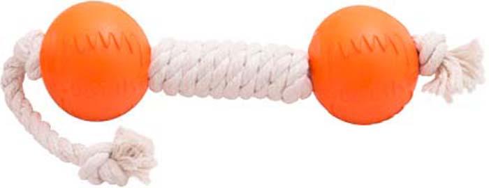 Игрушка для собак Doglike Канатная гантель, средняя, цвет: белый, длина 53 см, диаметр 9 см игрушка doglike гантель большая канат желтый зеленый красный для собак d 2368ygr