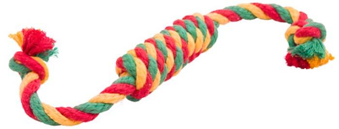 Игрушка для собак Doglike Канатная сарделька, большая, цвет: красный, желтый, зеленый, длина 42 смD-2362-YGRИгрушка Doglike Канатная сарделька служит для массажа десен и очистки зубов от налета и камня, а также снимает нервное напряжение. Игрушка изготовлена из перекрученных хлопковых веревок. Она прочная и может выдержать огромное количество часов игры. Это идеальная замена косточке.Если ваш пес портит мебель, излишне агрессивен, непослушен или страдает излишним весом то, скорее всего, корень всех бед кроется в недостаточной физической и эмоциональной нагрузке. Порадуйте своего питомца прекрасным и качественным подарком.