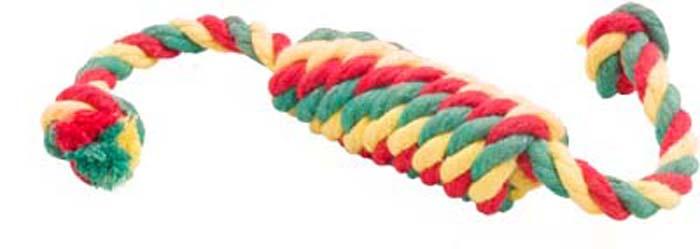 """Игрушка для собак Doglike """"Канатная сарделька"""", малая, цвет: красный, желтый, зеленый, 27 см"""