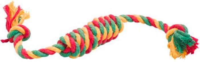 Игрушка для собак Doglike Канатная сарделька, средняя, цвет: красный, желтый, зеленый, длина 40 см игрушка канатная mrpet восьмерка с мячем цвет желтый красный 25 см