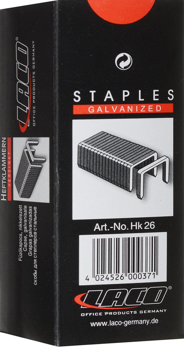 Laco Скобы для степлера №26/62611040000Оцинкованные заточенные скобы №26/6 для степлера. Упакованы в картонную коробку по 5000 штук.