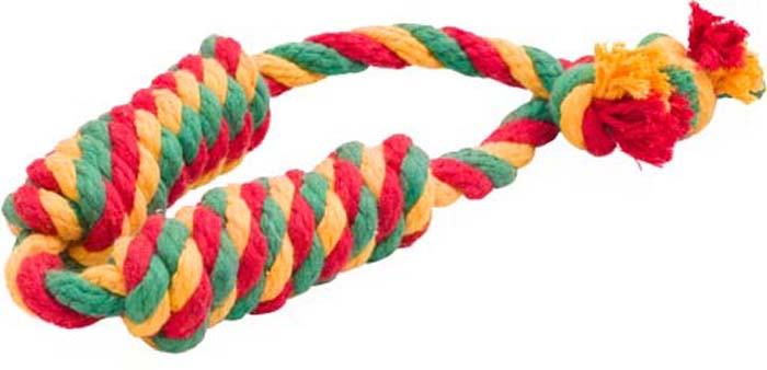 Игрушка для собак Doglike Канатная сарделька, двойная, большая, цвет: красный, желтый, зеленый, длина 58 см игрушка канатная mrpet восьмерка с мячем цвет желтый красный 25 см